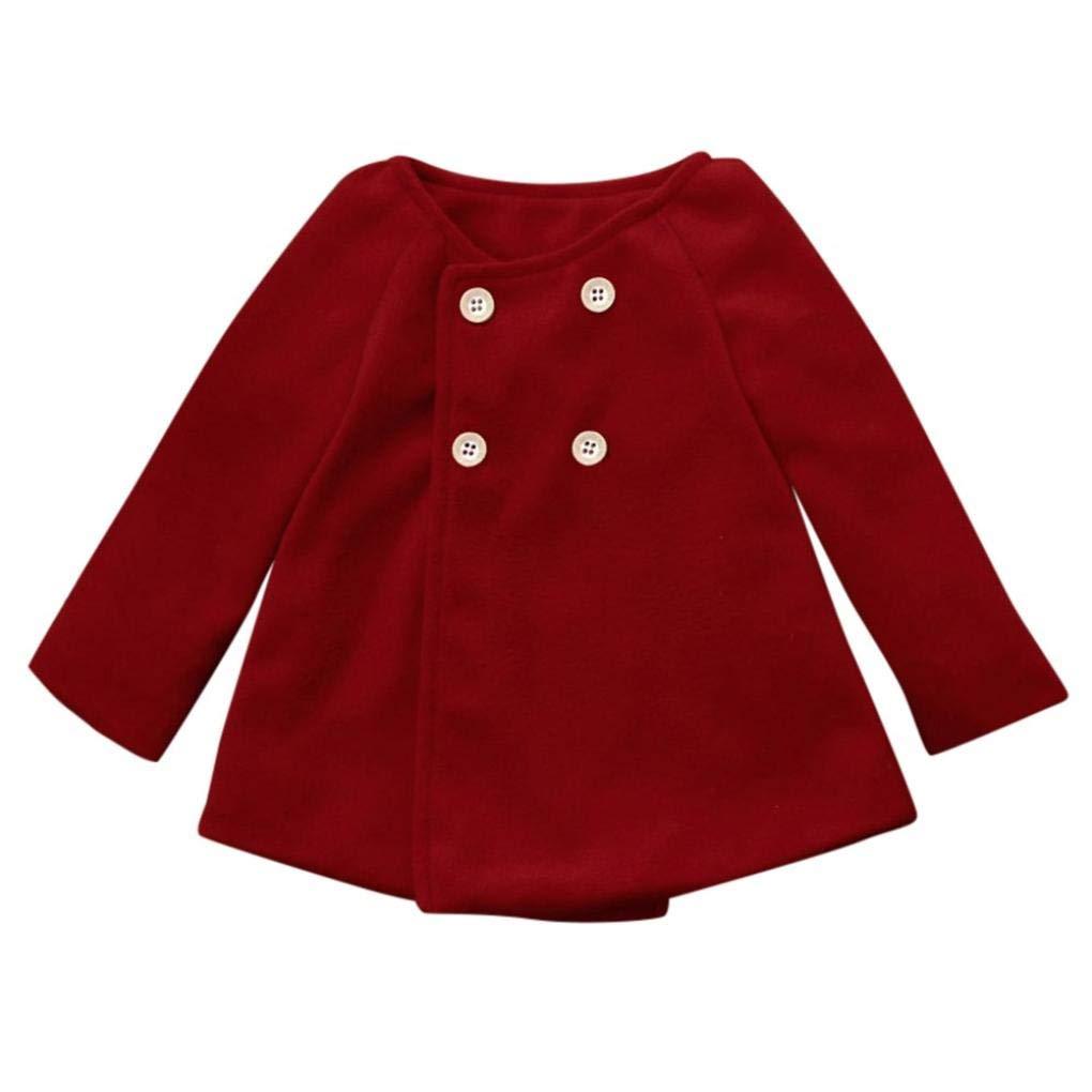 HI-MZY Autumn Winter Girls Button Jacket Warm Coat Clothes Baby Outwear Cloak (110)
