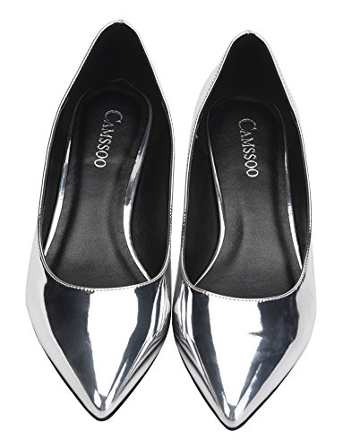 CAMSSOO Classic pu On Shoes Dress Heel Low Pumps Slip Wedding Toe Women's Pointy Comfort silver SRrq5S