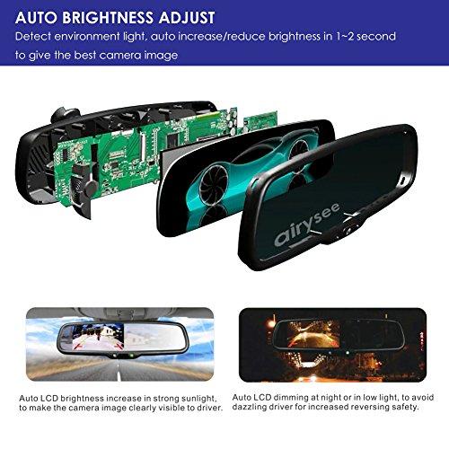 Airysee AS-43LA Orignal Auto substituirla espejo 2 ch doble entradas de vídeo 10,92 cm Auto ajustar brillo LCD Espejo retrovisor para coche DVD VCD GPS ...