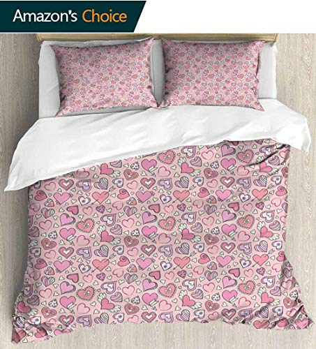 (shirlyhome Love Cotton Bedding Sets,Romantic Cute Doodle Pattern Winged Valentines Hearts Arrows Abstract Kids Bedding-Does Not Shrink or Wrinkle 79