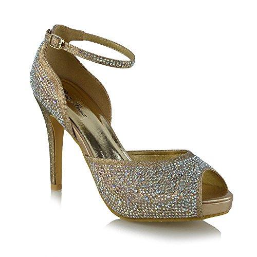 ESSEX GLAM Womens Bridal Peep Toe Gold Glitter Sparkly Platform Ankle Strap Heels 7 B(M) US