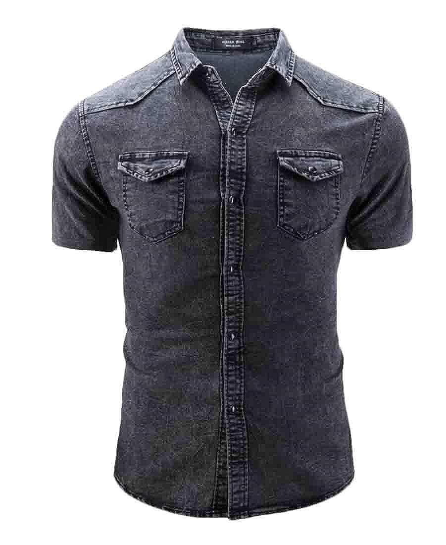 YIhujiuben Mens Slim Denim Solid Color Short Sleeve Stylish Button Front Shirts
