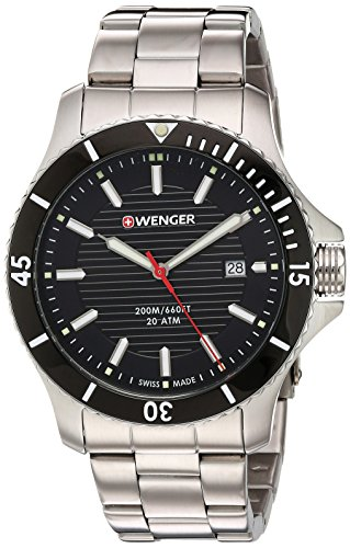 (Wenger Men's 'Seaforce' Swiss Quartz Stainless Steel Casual Watch, Color:Black Dial, Stainless Bracelet (Model: 01.0641.118))