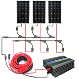 ECO-WORTHY 500w Complete Kit:3pcs 160w 12v Monocrystalline Solar Panels&500w Grid Tie Inverters