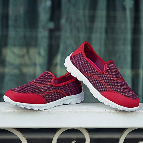 Lightweight Slip Women's Running On Sneakers Walking Madaleno Sports Shoes Red Mesh Casual Trainers AT41R