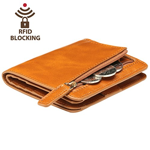 Itslife Women's Rfid Blocking Small Compact Bifold Leather Pocket Wallet Ladies Mini Purse with id Window (Brown) by ITSLIFE