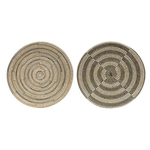 Creative Co-op Large Seagrass Hand-Woven Wall Basket Set, 2 Piece