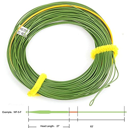 (Aventik Big Flies Line I Shorter Head Out Bound Fly Lines Ultra Low Stretch Core Moss Green Color with Yellow Loading Zoom, Welded Loops, Line ID WF5, 6, 7, 8 Floating 90 ft (WF7F))