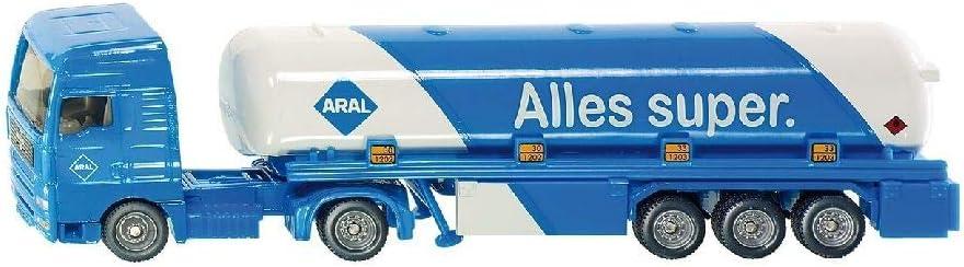 SIKU 1626, Camión cisterna articulado, Metal/Plástico, 1:87, Azul/Blanco, Diseño ARAL, Vehículo de juguete para niños, Ruedas de goma