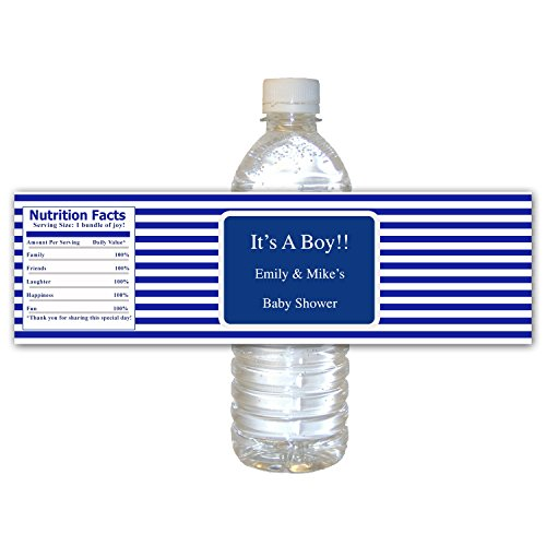 30 Waterproof Water Bottle Labels Personalized Blue White Stripes Lines Its A Boy Design Baby Shower Party Favor Gift Idea