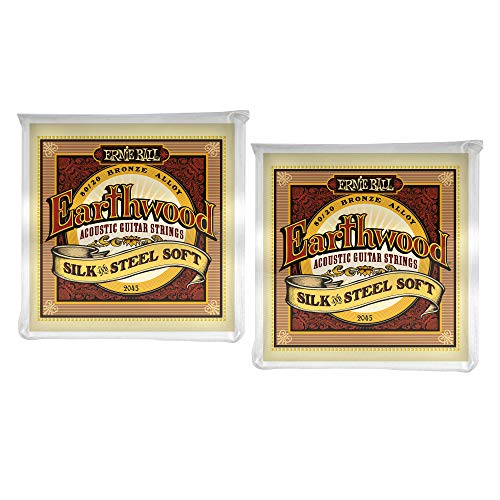 2 PACK Ernie Ball P02051 Earthwood Silk and Steel 12-String Soft Acoustic Set.009 - .046