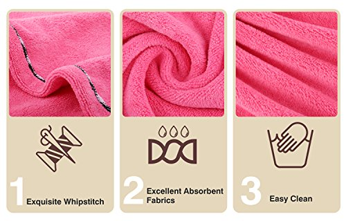Luxspire 2 Pack Microfiber Hair Drying Towels, Fast Drying Hair Cap, Long Hair Wrap Turban, Bath Shower Head Towel with Buttons, Super Water-absorbent, Blue & Rose Red by Luxspire (Image #3)