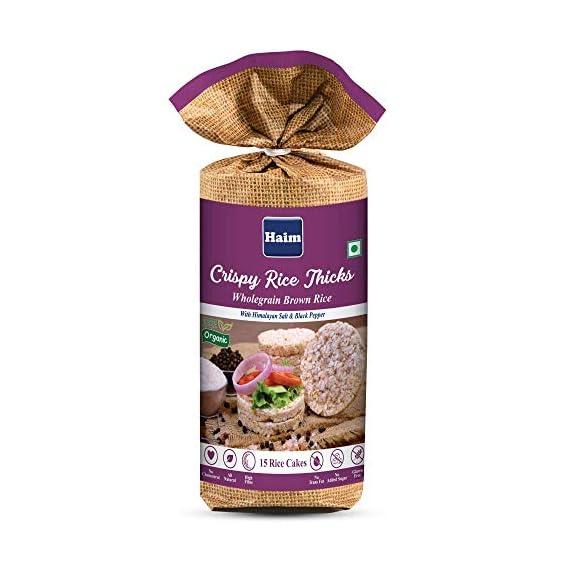 HAIM Organic Crispy Rice Thicks Wholegrain Brown Rice Cake with Himalayan Salt & Black Pepper (Pack of 1)
