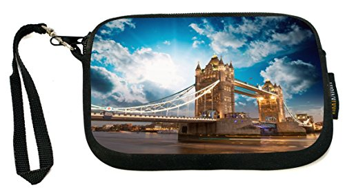 Rikki Knight Beautiful Sunset Colors Famous Tower Bridge London - Neoprene Clutch Wristlet Coin Purse with Safety Closure - Ideal case for Cosmetics Case, Camera Case, Cell Phones, Passport, etc..