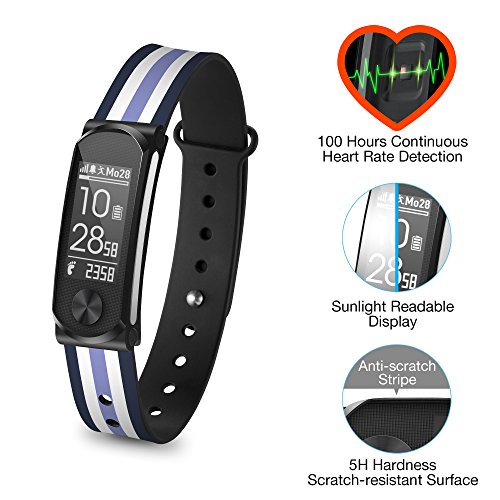 Mobile Action Bluetooth (Q-Band Q-68HR-04 Accurate Health & Fitness Tracker Watch, 100 Hours Heart Rate Monitor, Bluetooth Activity Tracker, Sunlight Readable Scratch-Resistant Big Screen, Pedometer Band)