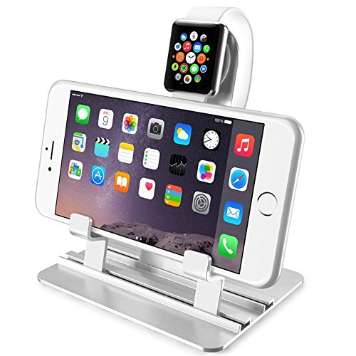 Desktop iPhone Charging Stand 2 in 1, Charging Station Holder for iPhone 8x 7 6s Plus Apple iWatch Series 1/Series 2(38mm 42mm) iPad, Charging Dock for Smartphone Tablet and e-Readers (Up to 12 inch)
