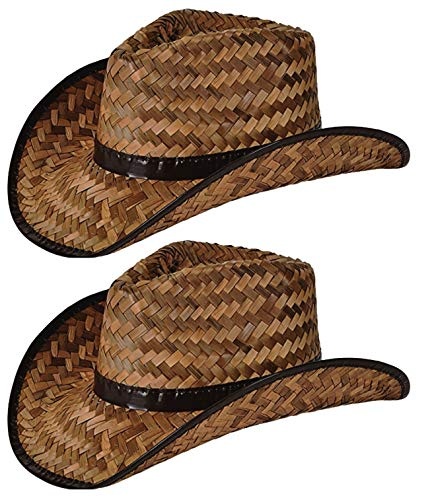 2 Pack Stained Brown Woven Straw Cowboy Hats for Men and Women, Great Rodeo and Outback Costume Accessory