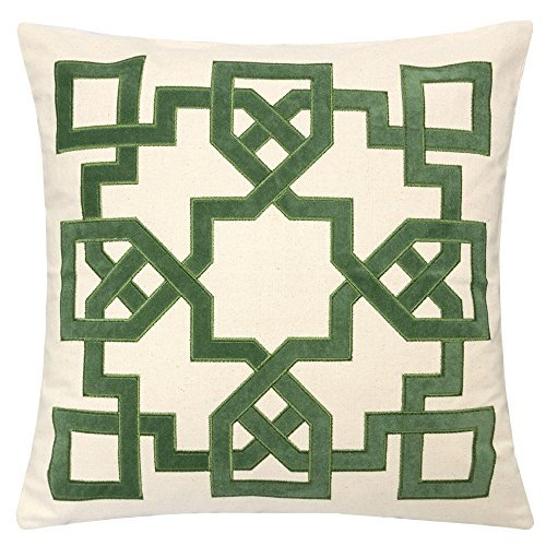Embroidered Applique Pillow - Homey Cozy Applique Throw Pillow Cover,Celtic Knot Green Cotton Canvas Large Sofa Couch Pillow Sham,20x20 Cover Only