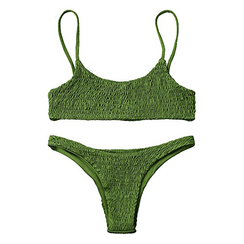 (ZAFUL Women's Sexy Bathing Suit Solid Color Halter Shirred Bikini Swimsuit Grass Green)