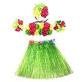 5Pcs Hawaii Tropical Hula Grass Dance Skirt Flower Bracelets Headband Bra Set 40cm (Green Skirt)