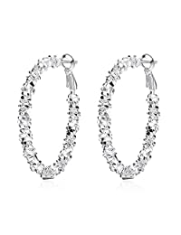 BODYA fashion Silver plated Large Circle String Diamond-Cut glitter Round Loops Huggie Hoop Earrings
