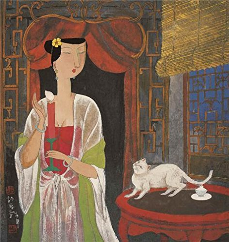 Oil Painting 'Hu Yongkai,Woman Holding A Candle,21th Century' 16 x 17 inch / 41 x 43 cm , on High Definition HD canvas prints is for Gifts And Home Office, Kitchen And Laundry Room Decoration, get of Fingerprint Christmas Lights Poem