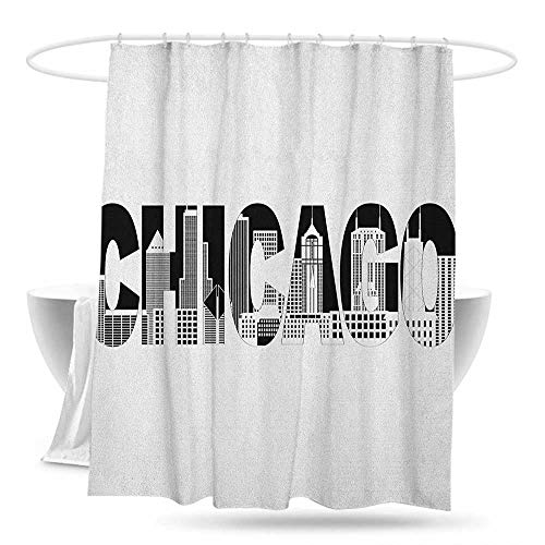 Bathroom Shower Curtain Chicago Skyline Black and White Text of Chicago Outlining City Landmark Abstract Buildings Shower Curtains in Bath 59in×70in Black White