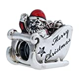 """PANDORA Charm Sleighing Santa with Translucent Classic Red Enamel and Engraving """"Merry Christmas"""""""