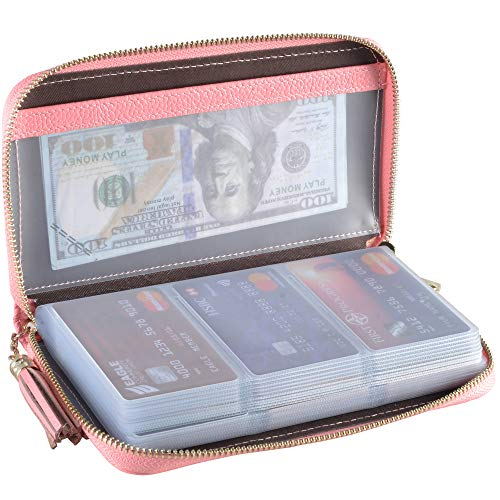 Easyoulife Credit Card Holder Wallet Womens Zipper Leather Case Purse RFID Blocking (Pink)