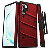 ZIZO Bolt Series Samsung Galaxy Note 10 Case | Heavy-Duty Military-Grade Drop Protection w/Kickstand Included Belt Clip Holster Lanyard (Red/Black)