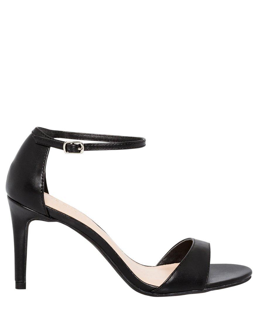 LE CHÂTEAU Women's Ankle Strap Thin Heel Sandal,9,Black
