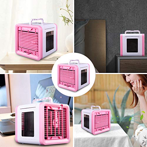 Freshzone Pink Portable Mini Air Cooler 3 Modes Wind Speed Ultra Small Mute Multi-Function Refrigeration Purification Humidification Machine with Lighting LED