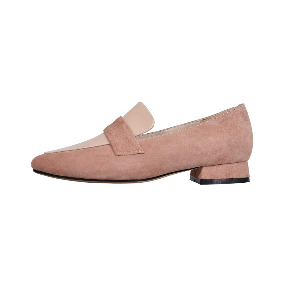 Nine Seven Genuine Split Leather Womens Round Flat Chunky Heel Cute Slip On Handmade Shallow Women Pumps
