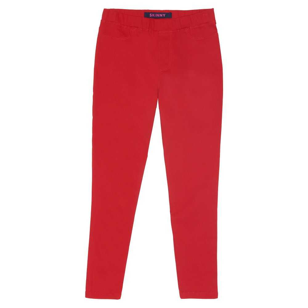 French Toast Little Girls' Pull on Twill Pant, True Crimson, 4