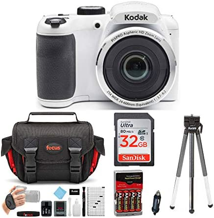 KODAK PIXPRO AZ252 Astro Zoom Digital Camera (White) Bundle with 32GB Card, Case, Accessory equipment, and Rechargeable Batteries