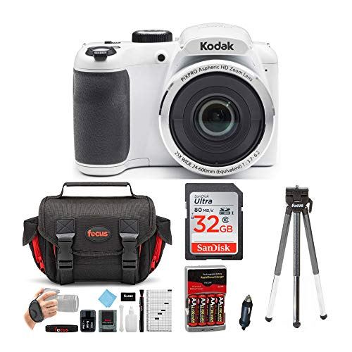 KODAK PIXPRO AZ252 Astro Zoom Digital Camera (White) Bundle with 32GB Card, Case, Accessory kit, and Rechargeable Batteries