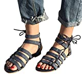 Women Bohemia Sandals Size 5-9 Lace Up Flats Shoes Low Heel Strap Slippers Pointed Toe Wedge Hemlock (US:8.5, Black)