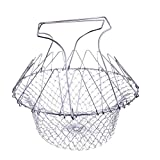 Proficient Stainless Steel Foldable Steam Rinse Strainer Fry Cooking Chef Basket Mesh Net Strainer Colander Kitchen Tool