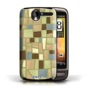 KOBALT? Protective Hard Back Phone Case / Cover for HTC Desire G7 | Green/Brown Design | Mosaic Tiles Collection