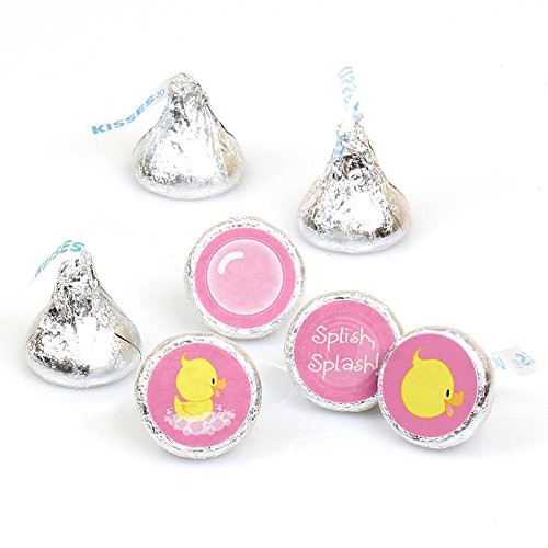 (Pink Ducky Duck - Girl Baby Shower or Birthday Party Round Candy Sticker Favors - Labels Fit Hershey's Kisses (1 Sheet of 108) )