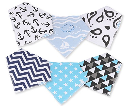 Baby Boy Bandana Drool Bibs - Set of 6 Cute Designs Extra-Soft Organic Cotton Bib for Delicate Skin, Perfect for Teething, Drooling, Breast Feeding, Burp & Spit-Up Messes, Outfit Accessory by maxamStars (Image #2)