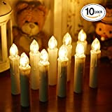 BlueFire 10pcs LED Candle Light, with Remote and Candleholder Clips Battery Operated Christmas Tree Candles for Home Decor Wedding Party (Warmwhite)