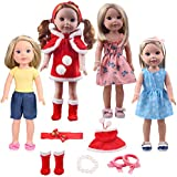 14inch Doll Clothes Santa Outfit Costume Christmas Dress Up Clothes -Including 4sets of Complete Doll Costume + 1Pair of Hair Terry +1Hair Band +1Bracelet Accessories fit American Girl Wellie Wishers