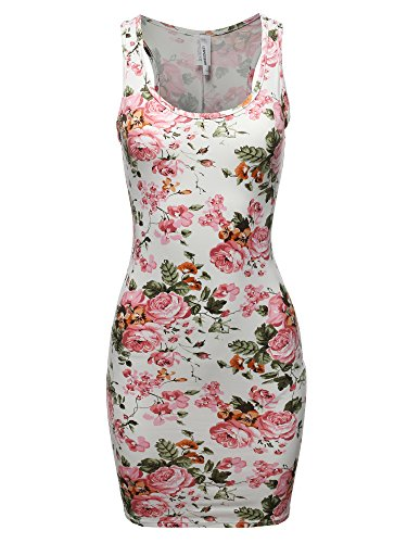 Casual Bridal Dresses - Awesome21 Printed Sexy Body-Con Racer-Back Mini Dress White Pink L