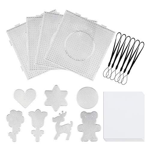 Fuse Beads Boards 5 mm Clear Plastic Pegboards Includ Large Square, Small Round, Love, Star, Bear, Milu Deer and Flowers for Kids Craft Beads (11 Pieces)