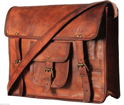 Vintage handmade Leather Large Shoulder Satchel Laptop Holder Crossbody College Office Bag Unisex Brown