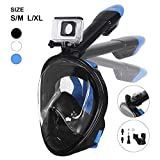 Unigear 180° Full Face Snorkel Mask -Panoramic View with Detachable for Camera Mount and Earplug,Anti-Fog Anti-Leak Snorkeling Design for Adults and Youth (Blue, S/M)