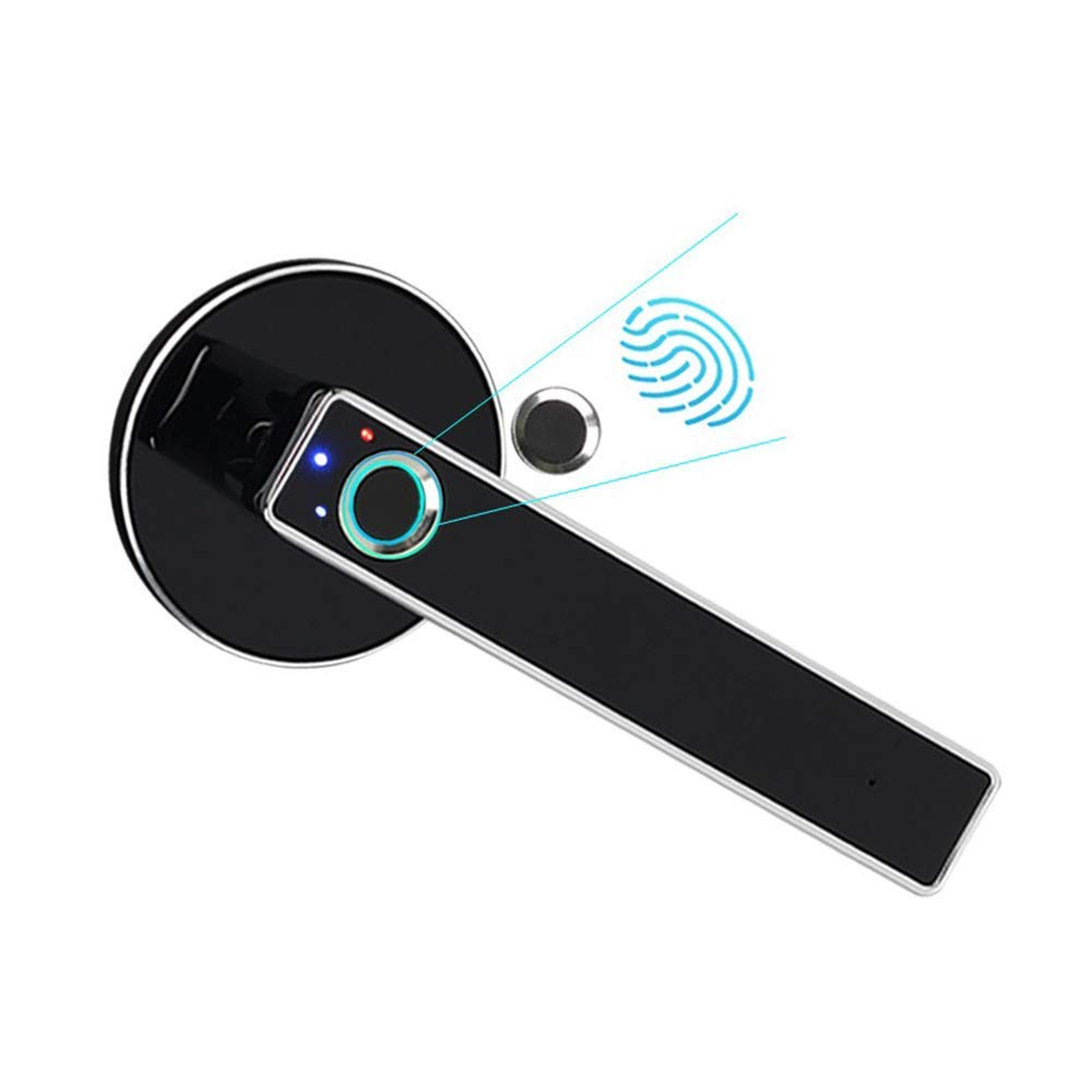Fingerprint Door Lock, Smart Door Lock, Home Security Door Lock, Smart Electronic Bedroom Wooden Door Office Room Door for Office & Home (Silver) (1 Pack) by CyberPark