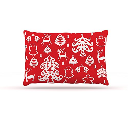 KESS InHouse Miranda MOL Warm Winter Red White Dog Bed, 30  x 40