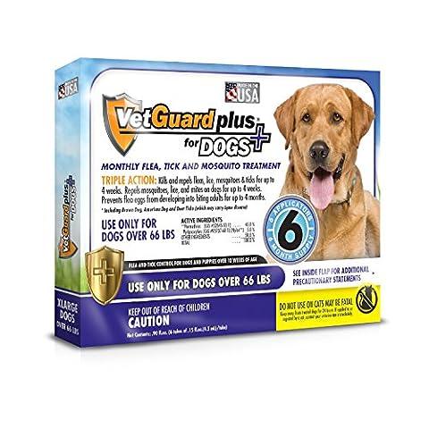 VetGuard Plus Flea & Tick Treatment for X-Large Dogs, Over 66 lbs, 6 Month Supply - Advantix Flea Treatment